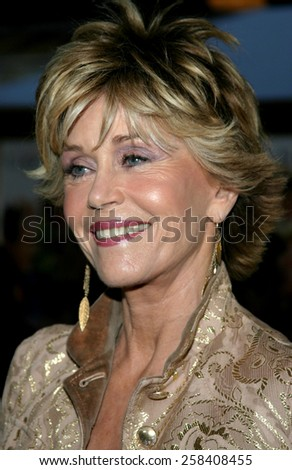 "WESTWOOD. CALIFORNIA. April 29, 2005. Jane Fonda at the Los Angeles Premiere of ""Monster-In-Law"" at the Mann National Theatre in Westwood, Los Angeles, California.   - stock photo"
