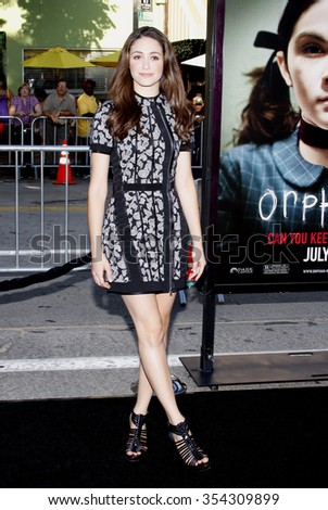 "WESTWOOD, CALIFORNIA - July 21, 2009. Emmy Rossum at the Los Angeles premiere of ""Orphan"" held at the Mann Village Theater, Westwood.   - stock photo"
