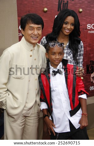 """WESTWOOD, CALIFORNIA - Monday June 7, 2010. Jackie Chan, Jaden Smith and Ciara at the Los Angeles premiere of """"The Karate Kid"""" held at the Mann Village Theater, Westwood.  - stock photo"""