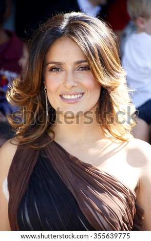 "WESTWOOD, CALIFORNIA - October 23, 2011. Salma Hayek at the Los Angeles premiere of ""Puss in Boots"" held at the Regency Village Theater, Los Angeles."