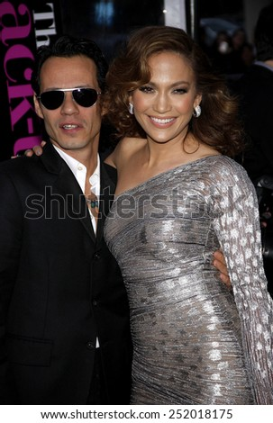 "WESTWOOD, CALIFORNIA - Wednesday April 21, 2010. Marc Anthony and Jennifer Lopez at the Los Angeles premiere of ""The Back-Up Plan"" held at the Westwood Village Theater, Hollywood.  - stock photo"