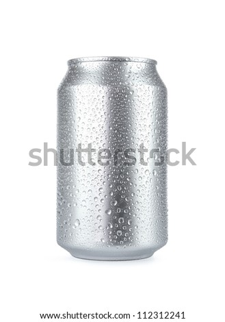 Wet aluminum soda can isolated on white background with copy space - stock photo