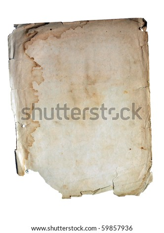 Wet ancient paper copyspace with torn edges - stock photo