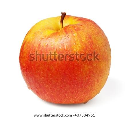 Wet apple fruit isolated on white - stock photo