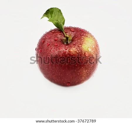 wet apple on isolated white background - stock photo