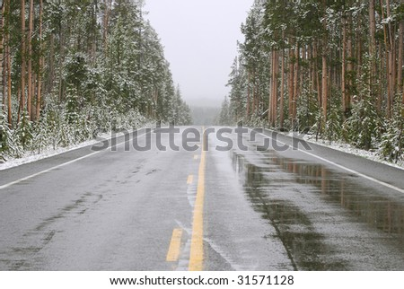 Wet asphalt road in Yellowstone National Park during a late spring snow storm. - stock photo