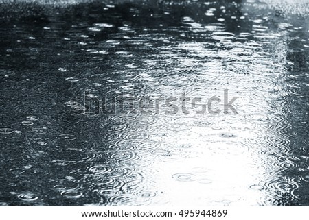 wet asphalt with raindrops on water puddle during rainy weather