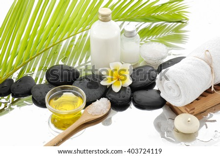 Wet background and spa setting - stock photo