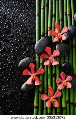 Wet background - orchid with black stones on bamboo grove  - stock photo