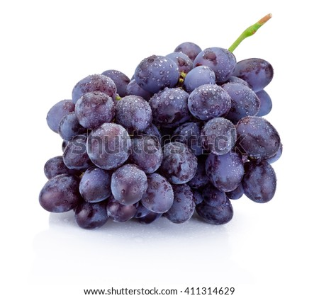 Wet bunch of blue grapes isolated on white background - stock photo