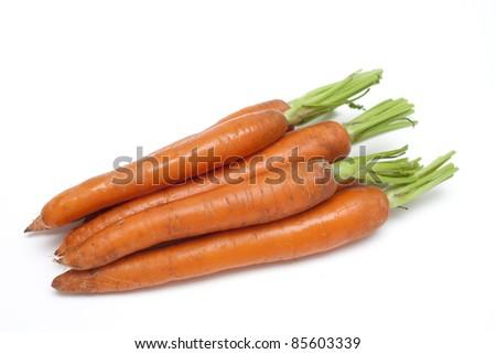 wet carrots on white background - stock photo