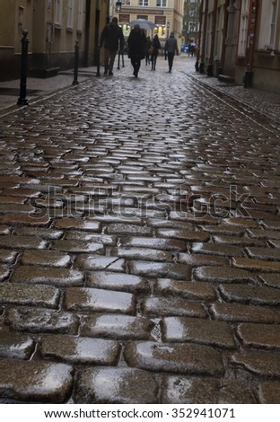 Wet cobblestone in the rain