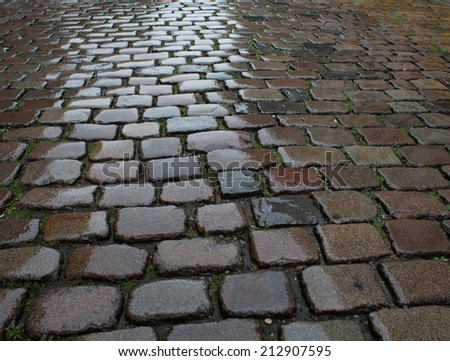 Wet cobblestone pavement - stock photo