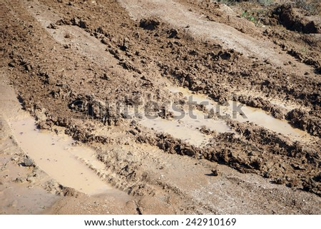 Wet dirt road of rhe field in autumn weather                                - stock photo