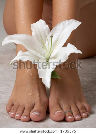 wet feet and madonna lily - stock photo