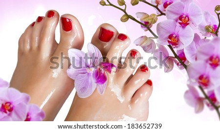 Wet feet with orchid. - stock photo