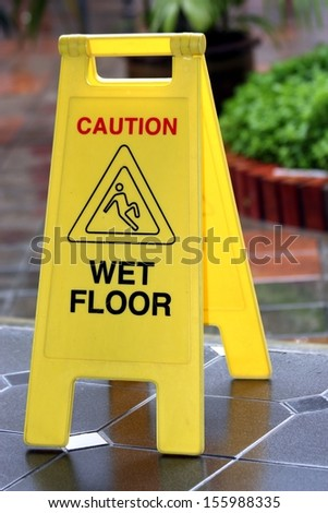 Wet floor sign. - stock photo