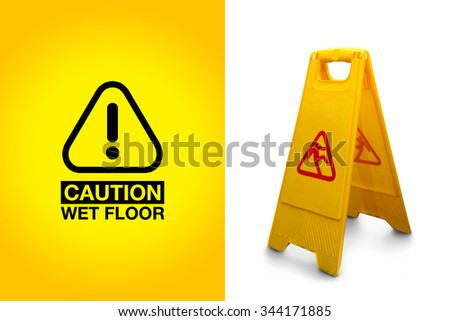 Wet floor sign isolated on white background, with the precaution alert graphic - stock photo