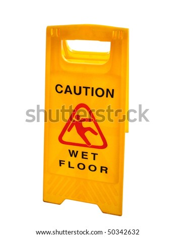 Wet floor sign isolated on white, with clipping path. - stock photo
