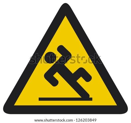 wet floor sign (slippery warning symbol, wet floor caution sign) - stock photo