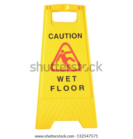 Wet Floor signs isolated on white