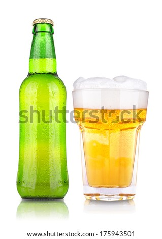 wet fresh beer isolated on a background