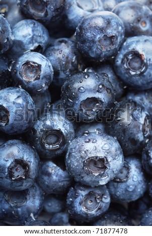 Wet fresh Blueberry background. Selective focus. - stock photo