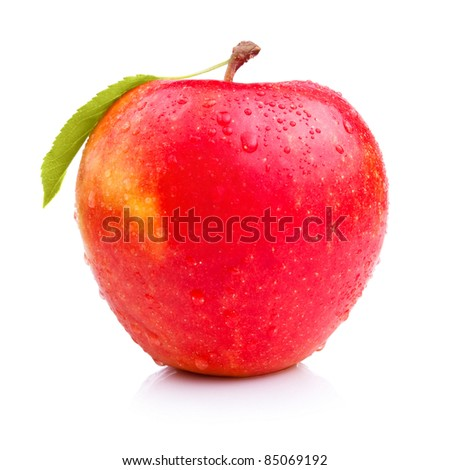 Wet fresh red apple with leaf isolated on white - stock photo