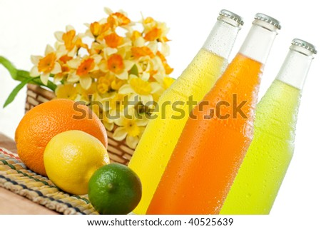 Wet glass bottles of tropical beverages on white background - stock photo