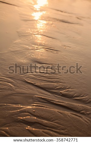 Wet golden beach sand reflects the rays of the setting sun
