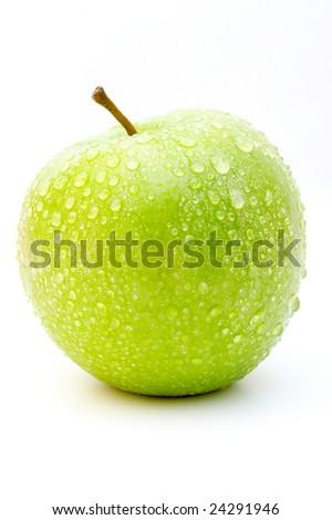 Wet green apple - stock photo