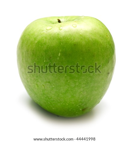 wet green apple covered by water drops on white background. Isolation