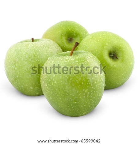Wet green apples isolated on white - stock photo