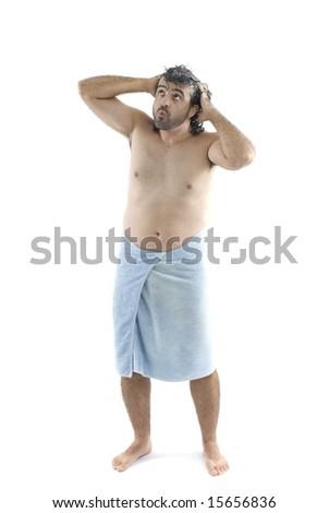 Wet Man using bath towel on white . - stock photo
