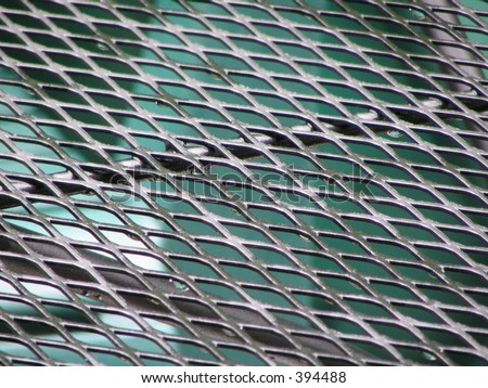 wet metal table top - stock photo