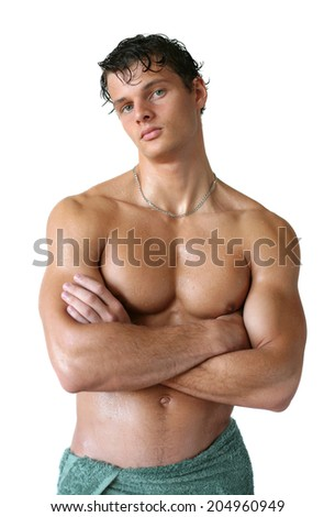 Wet muscular man wrapped in a towel isolated on white - stock photo