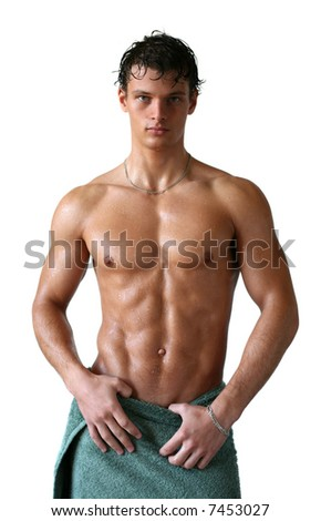 Wet muscular sexy man wrapped in a towel isolated on white - stock photo