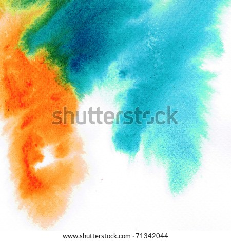 Wet on wet abstract watercolors - stock photo