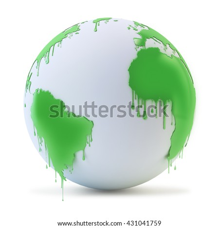 Wet paint dripping from a globe - environmental protection concept 3D illustration - stock photo