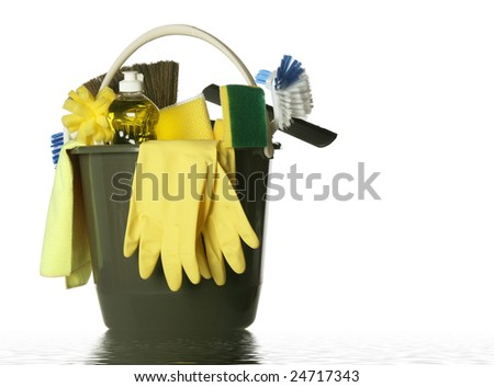 Wet plastic bucket with cleaning supplies isolated on white background - stock photo
