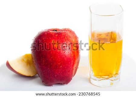wet red apple and juce - stock photo