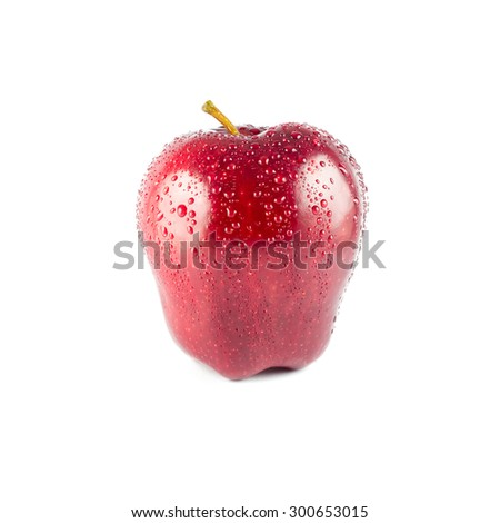 wet red apple isolated on white background - stock photo