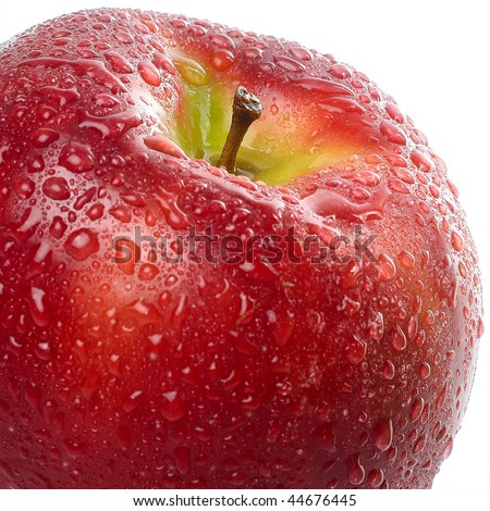 Wet red apple with drops - stock photo