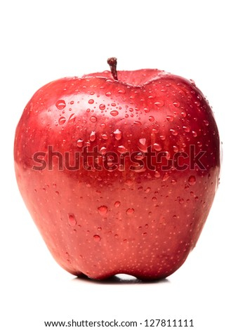 wet red delicious apple isolated on white - stock photo