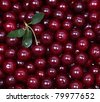 Wet ripe red cherries can use as background - stock photo