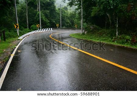 wet road - stock photo