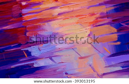 wet roadway, abstract painting by oil on a canvas, illustration - stock photo