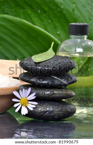 wet stacked spa stones - stock photo