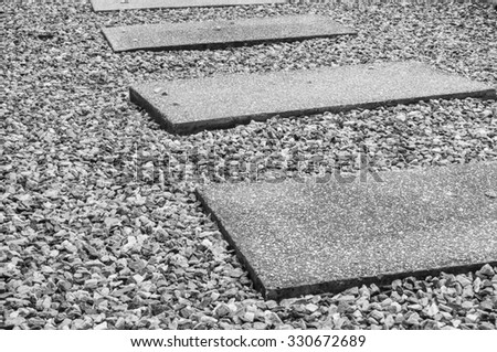 Wet stone pathway in the garden after rain in black and white tone - stock photo