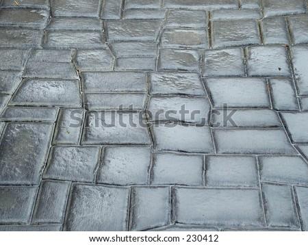 Wet stone road - stock photo